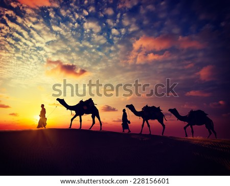 Vintage retro effect filtered hipster style image of  Rajasthan travel background - two indian cameleers (camel drivers) with camels silhouettes in dunes of Thar desert on sunset. Rajasthan, India - stock photo