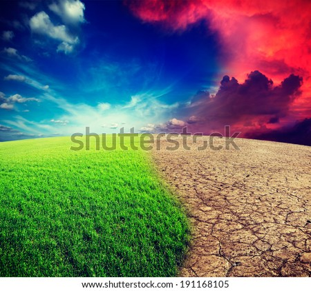Vintage retro effect filtered hipster style travel image of ecology landscape - climate change concept, desert invasion - stock photo