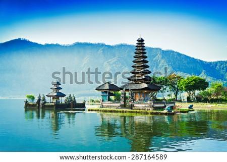 Vintage retro effect like filtered hipster photo of Ulun Danu temple, Beratan Lake in Bali, Indonesia - stock photo