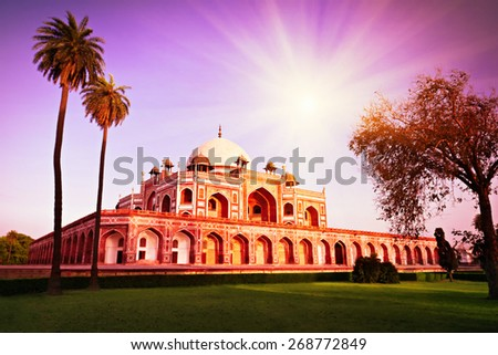 Vintage retro effect like filtered hipster style photo of Humayun Tomb, New Delhi, India - stock photo