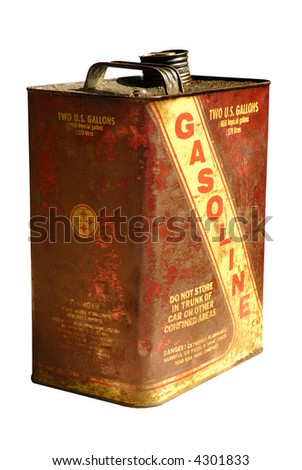 Vintage retro gas can isolated on white - stock photo