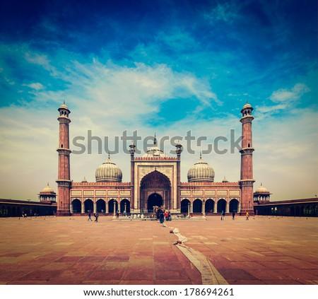 Vintage retro hipster style travel image of Jama Masjid - largest muslim mosque in India. Delhi, India - stock photo