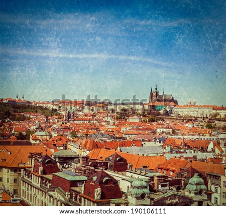 Vintage retro hipster style travel image of Stare Mesto (Old City) and and St. Vitus Cathedral from Town Hall. Prague, Czech Republic with grunge texture overlaid - stock photo