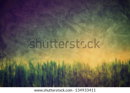 Vintage, retro image of nature landscape with grass and sunny sky. Grunge and creased canvas texture - stock photo