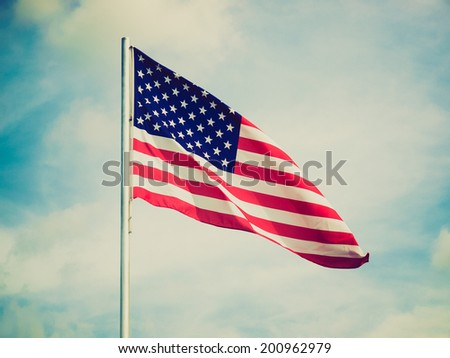 Vintage retro looking Flag of the USA (United States of America) - stock photo