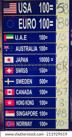 Vintage retro looking Forex foreign currency exchange sign with current rates - stock photo