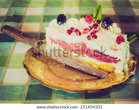Vintage retro looking Pie or cake with fruit and icecream - stock photo