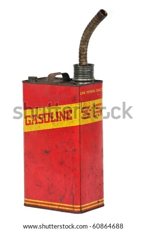 Vintage retro metallic fuel container isolated on white - stock photo