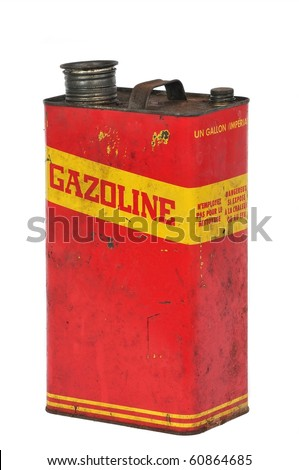 Vintage retro metallic fuel container isolated on white, text in french - stock photo