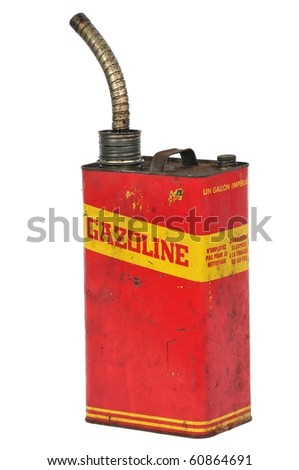 Vintage retro metallic fuel container isolated on white, text in french