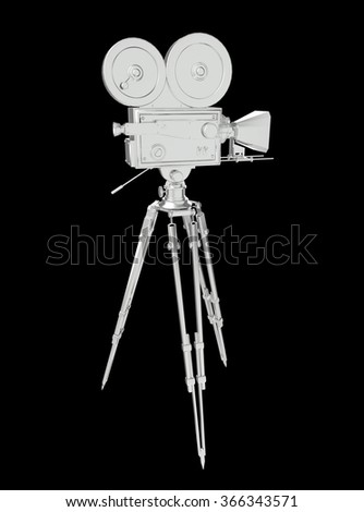 vintage retro movie camera on tripod mount concrete isolated on white high quality 3d rendering  - stock photo