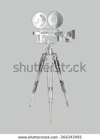 vintage retro movie camera on tripod mount crystal isolated on white high quality 3d rendering  - stock photo