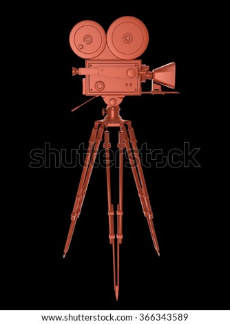 vintage retro movie camera on tripod mount red metallic isolated on white high quality 3d rendering  - stock photo