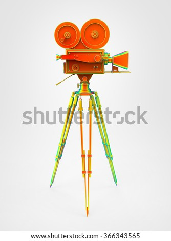vintage retro movie camera on tripod mount thermo view isolated on white high quality 3d rendering  - stock photo