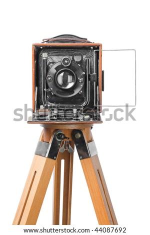vintage retro photo camera, isolated on white background - stock photo