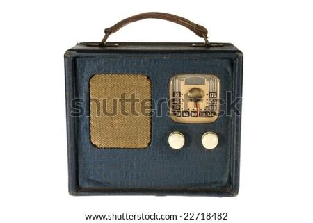 Vintage retro portable radio isolated on white background - stock photo