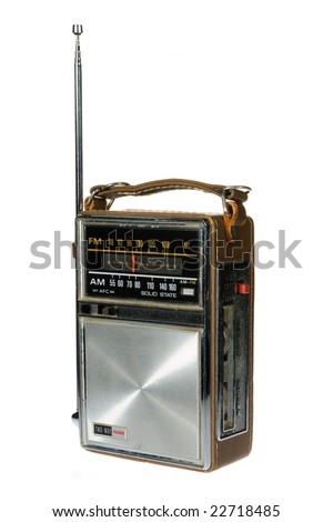 Vintage retro portable radio isolated on white background - stock photo