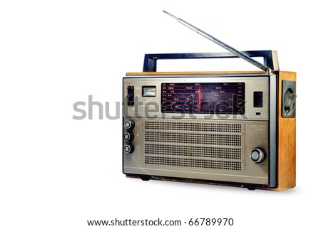 Vintage retro radio, isolated on white - stock photo