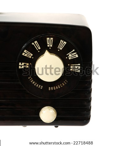 Vintage retro radio isolated on white background - stock photo