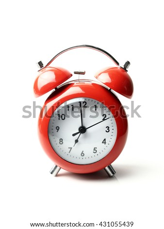 vintage retro red alarm clock 7  o'clock isolate white background