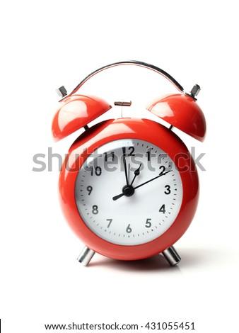 vintage retro red alarm clock 1 o'clock isolate white background - stock photo