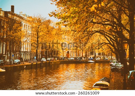 vintage retro style.Amsterdam. beautiful places in Europe - stock photo