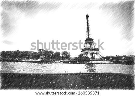 vintage retro style. Architecture of Paris .France. Europe - stock photo