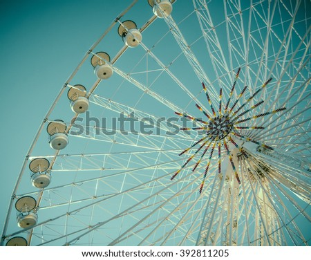Vintage Retro Style Detail Of A Fairground Ferris Wheel - stock photo