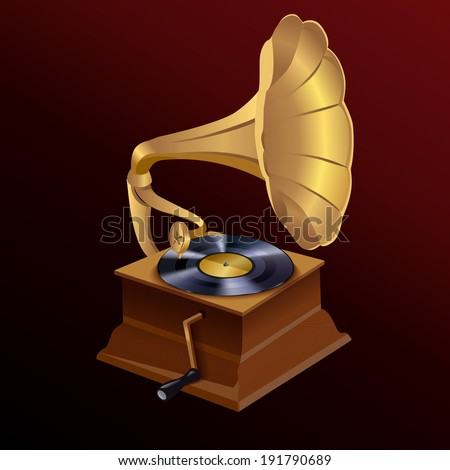 Vintage retro style vinyl turntable disc gramophone print template  illustration