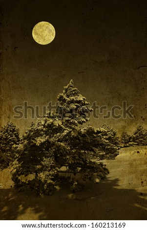Vintage retro style winter christmas night photo - stock photo