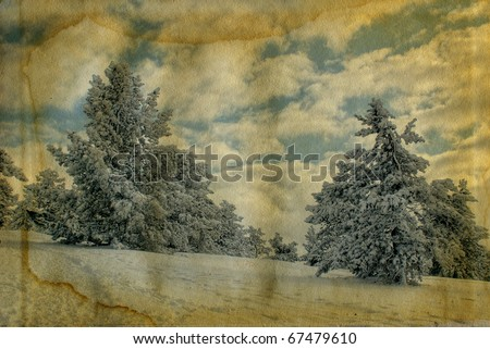 Vintage retro style winter christmas photo - stock photo