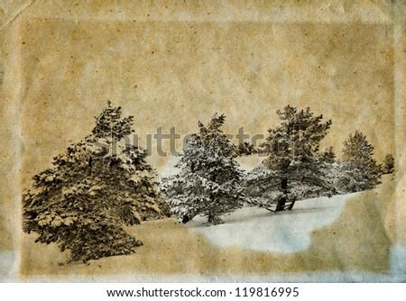 Vintage retro style winter landscape christmas photo - stock photo