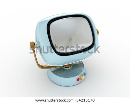 Vintage Retro TV  Stylish retro TV - isolated. Retro revival - stock photo