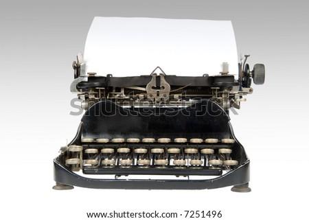Vintage retro typewriter with blank sheet of paper - stock photo