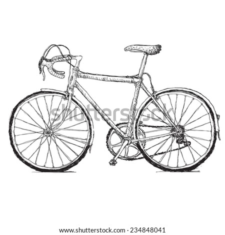 Vintage road bicycle hand drawn illustration. Raster version - stock photo