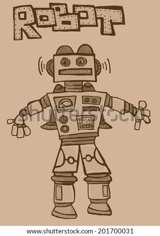 Vintage robot with rockets - stock photo