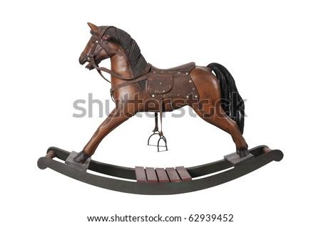 vintage rocking horse isolated on white - stock photo