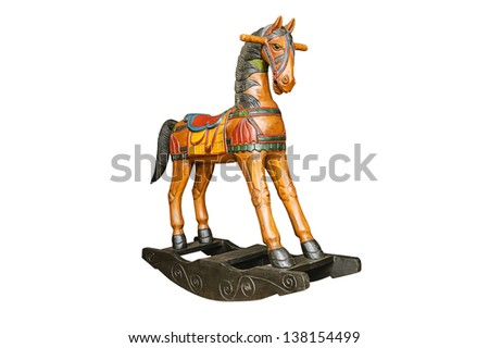 Vintage rocking horse isolated on white background