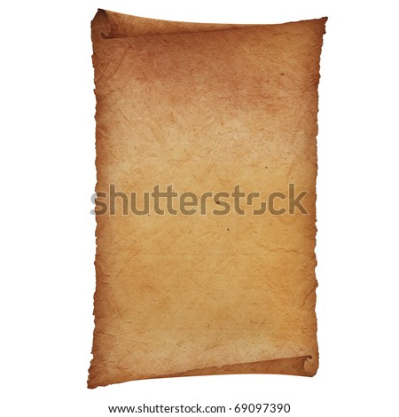 Vintage roll of parchment  isolated on white - stock photo
