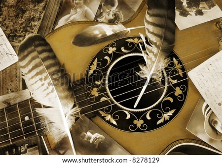 Vintage romance with guitar - stock photo