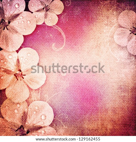 Vintage romantic background with flowers - stock photo