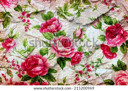 Vintage romantic roses fabric for grunge background - stock photo