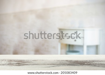 vintage room and white desk  - stock photo