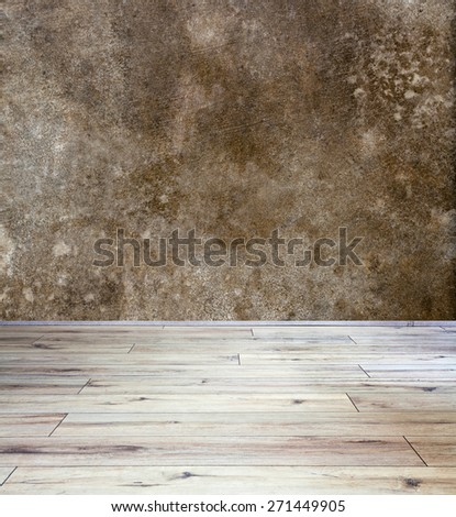 Vintage room interior with textured wall and wooden floor