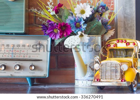 vintage room, retro interior car model on top table. public location  - stock photo