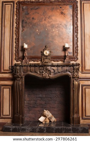 vintage room with a fireplace - stock photo