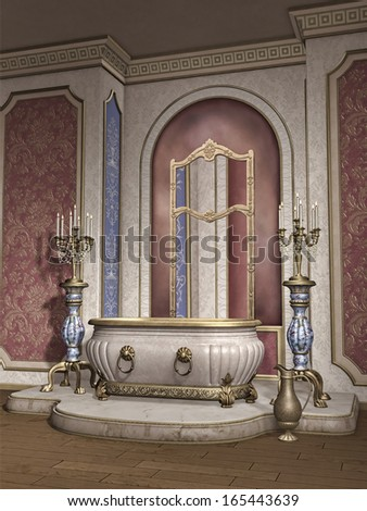 Vintage room with a marble bathtub and candelabras