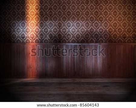vintage room with old wood paneling on wall - stock photo