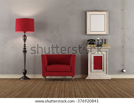 Vintage room with red armchairs ,pedestal and floor lamp - 3D Rendering - stock photo