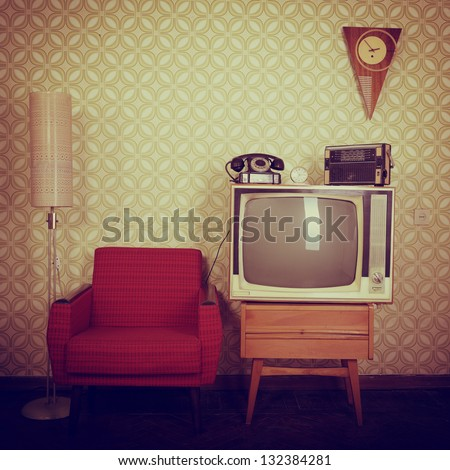 Retro Photography Vintage room with wallpaper